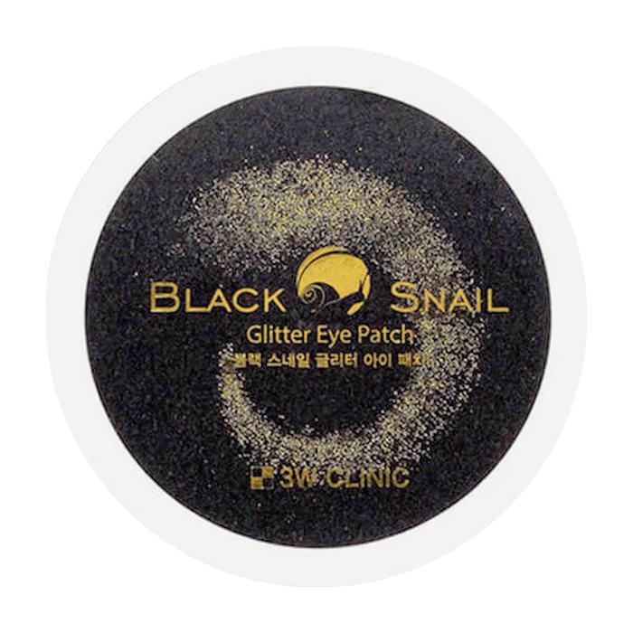Купить Патчи для век 3W Clinic Black Snail Glitter Eye Patch, Омолаживающие гидрогелевые патчи для век с муцином чёрной улитки, Южная Корея