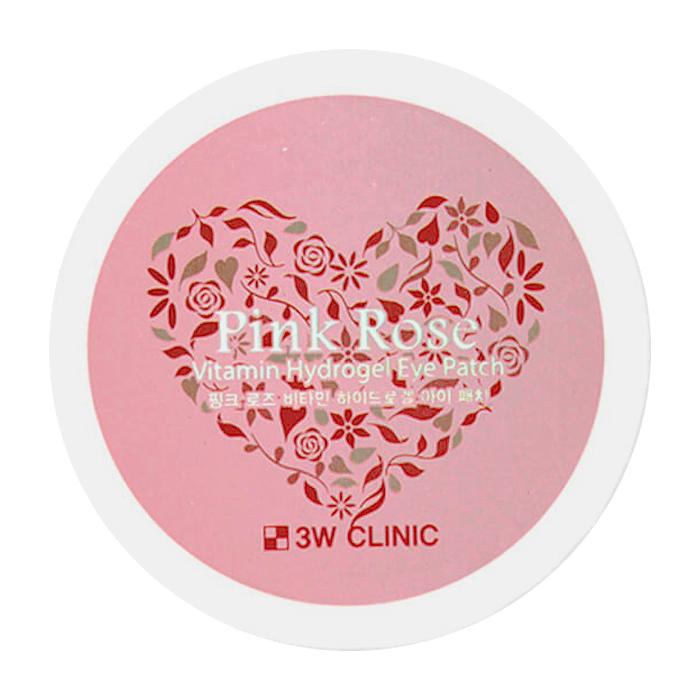 Купить Патчи для век 3W Clinic Pink Rose Vitamin Hydrogel Eye Patch, Витаминные гидрогелевые патчи для век с экстрактом французской розы, Южная Корея