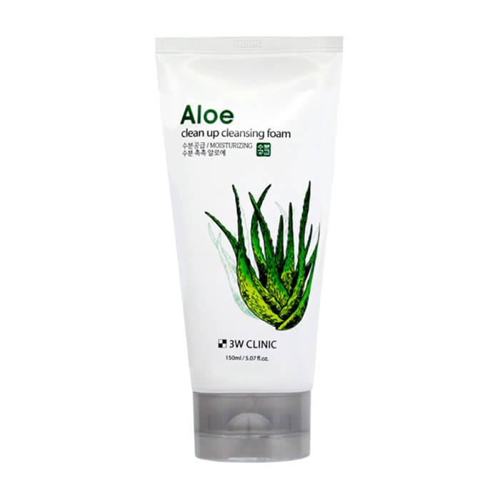 Купить Пенка для умывания 3W Clinic Aloe Clean Up Cleansing Foam, Универсальная пенка для очищения и ухода за кожей лица с экстрактом алоэ вера, Южная Корея