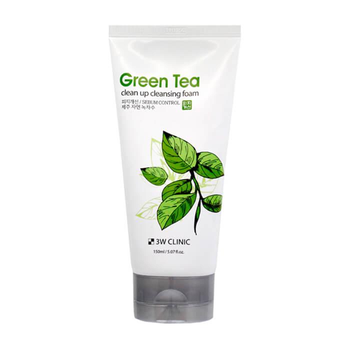 Купить Пенка для умывания 3W Clinic Green Tea Clean Up Cleansing Foam, Заживляющая пенка для очищения и ухода за кожей лица с экстрактом зелёного чая, Южная Корея