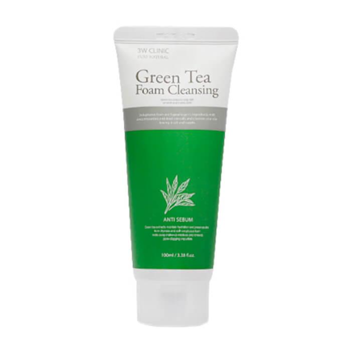 Купить Пенка для умывания 3W Clinic Green Tea Foam Cleansing, Очищающая пенка для жирной кожи лица с экстрактом зелёного чая, Южная Корея