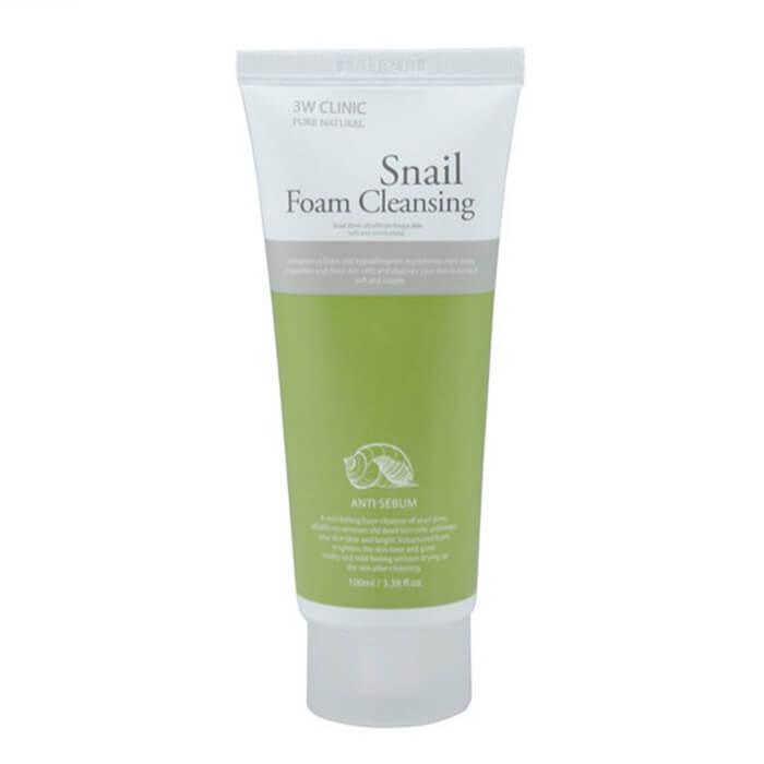 Купить Пенка для умывания 3W Clinic Snail Foam Cleansing, Очищающая пенка для лица с фильтратом улиточного муцина, Южная Корея