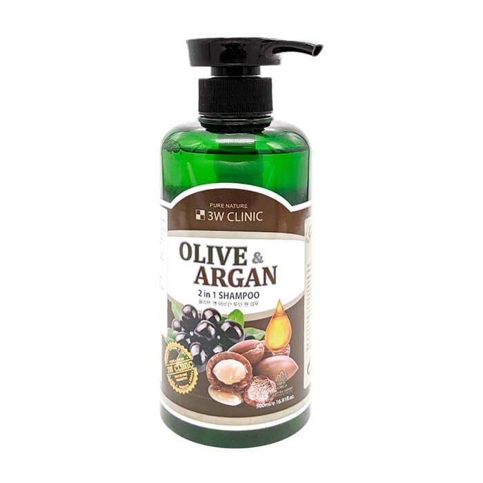 Купить Шампунь для волос 3W Clinic Olive & Argan 2 in 1 Shampoo (500 мл), Шампунь для повреждённых волос с маслами арганы и оливы, Южная Корея