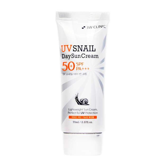Купить Солнцезащитный крем 3W Clinic UV Snail Day Sun Cream, Солнцезащитный крем с экстрактом улиточной слизи, Южная Корея