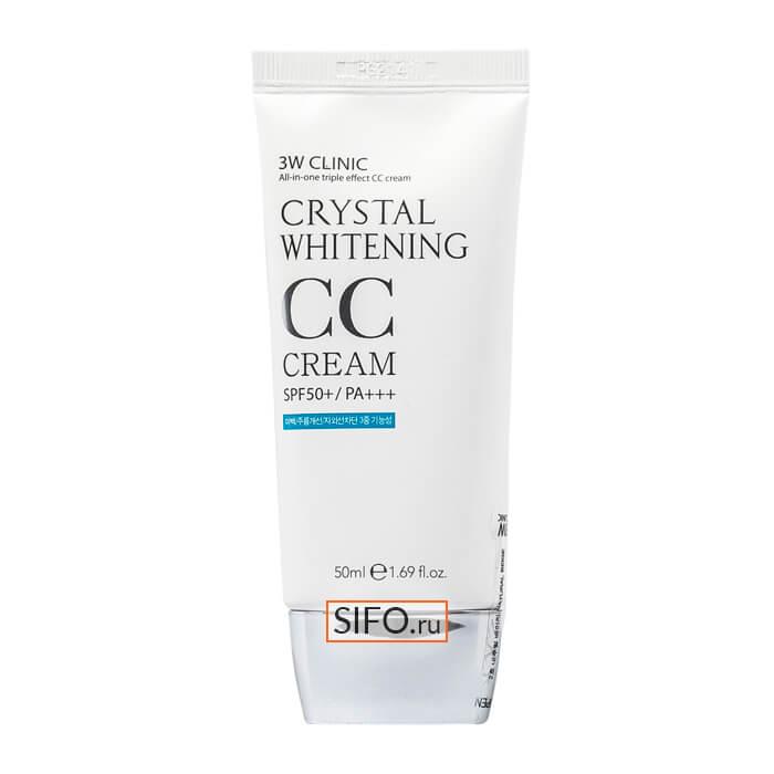 Купить СС крем 3W Clinic Crystal Whitening CC Cream #23 Natural Beige | Натуральный бежевый, Маскирующий СС крем с эффектом осветления кожи, Южная Корея