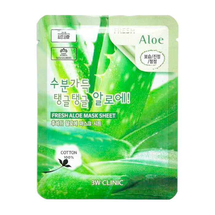 Купить Тканевая маска 3W Clinic Fresh Aloe Mask Sheet, Тканевая маска для лица с экстрактом алоэ, Южная Корея