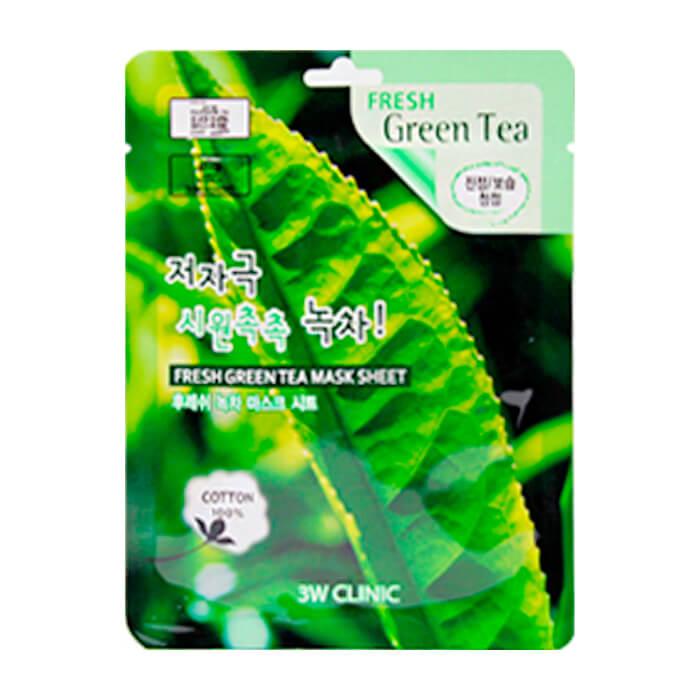 Купить Тканевая маска 3W Clinic Fresh Green Tea Mask Sheet, Тканевая маска для лица с экстрактом зелёного чая, Южная Корея