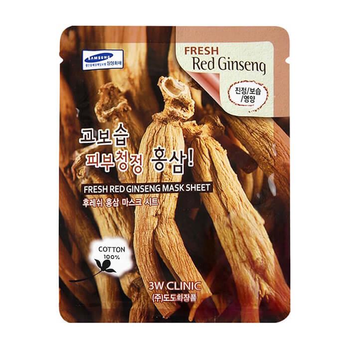 Купить Тканевая маска 3W Clinic Fresh Red Ginseng Mask Sheet, Тканевая маска для лица с экстрактом красного женьшеня, Южная Корея