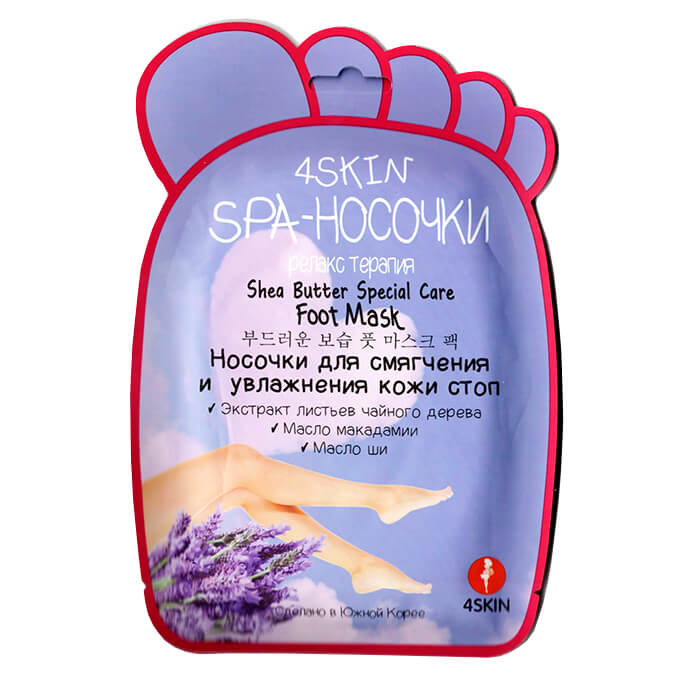 Купить Маска для ног 4 Skin Shea Butter Special Care Foot Mask, Косметические SPA носочки для увлажнения и смягчения кожи стоп, 4Skin, Южная Корея
