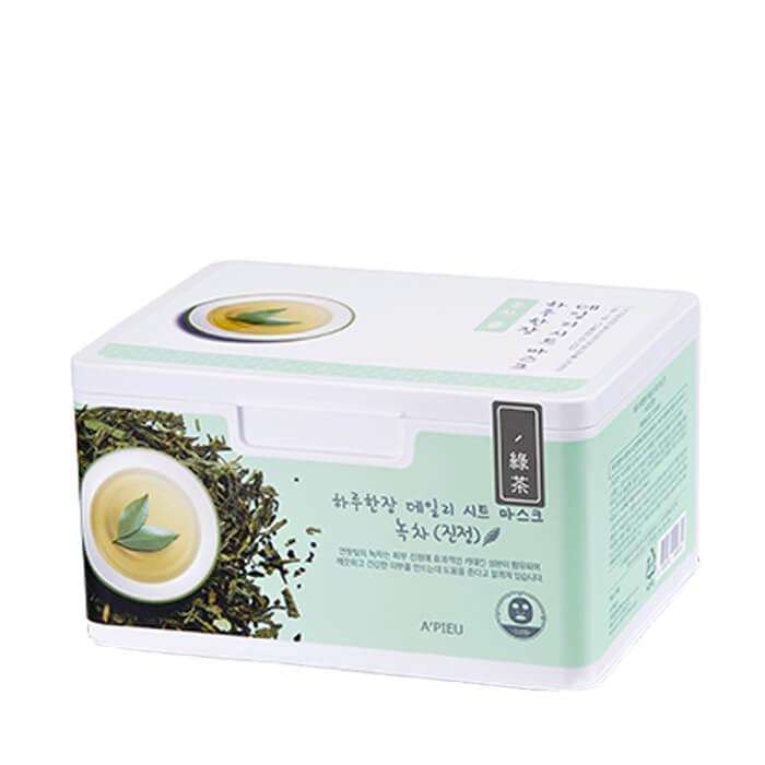 Купить Набор тканевых масок A'pieu Daily Sheet Mask Green Tea Soothing, Ежедневные успокаивающие маски для лица с экстрактом зелёного чая, Южная Корея