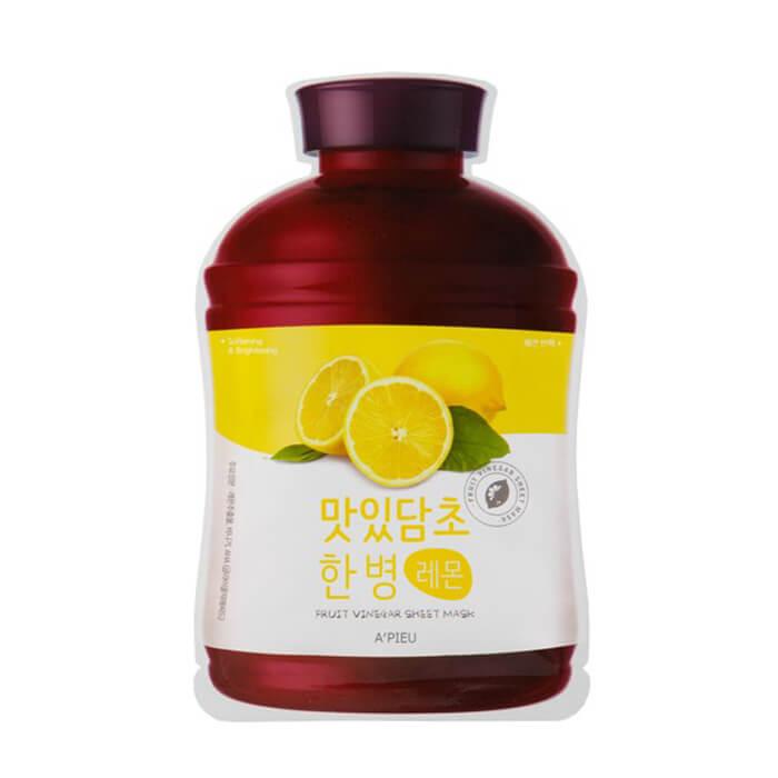 Купить Тканевая маска A'pieu Fruit Vinegar Sheet Mask Lemon, Тканевая маска для лица с экстрактом лимона, Южная Корея