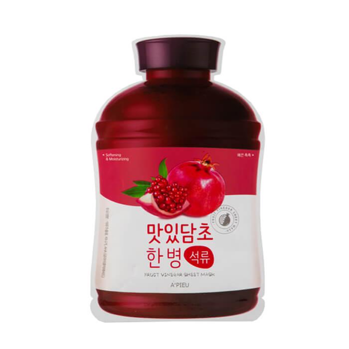 Купить Тканевая маска A'pieu Fruit Vinegar Sheet Mask Pomegranate, Увлажняющая маска для лица с экстрактом граната, Южная Корея