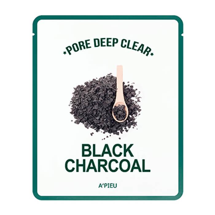 Купить Тканевая маска A'Pieu Pore Deep Clear Black Charcoal Mask, Тканевая маска с древесным углем для сужения пор на лице, Южная Корея