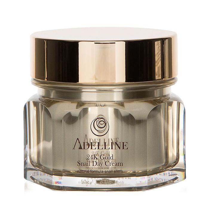 Купить Крем для лица Adelline 24K Gold Snail Day Cream (50 г), Питательный крем для кожи лица с коллоидным золотом и слизью улитки, Южная Корея