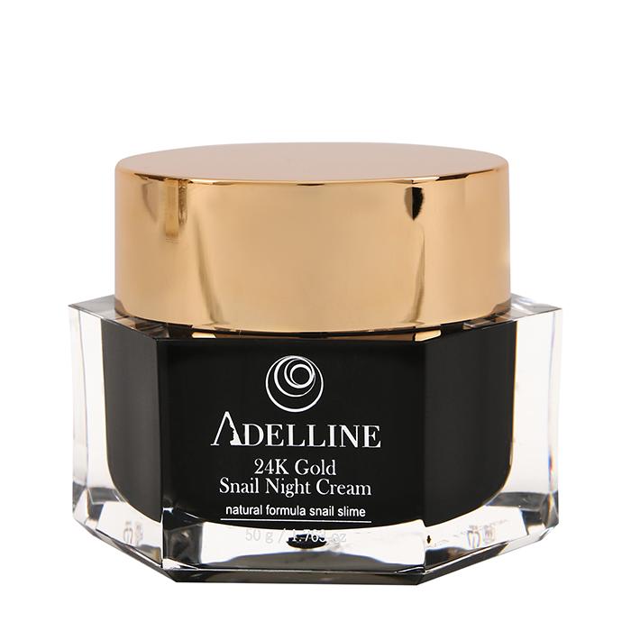 Купить Крем для лица Adelline 24K Gold Snail Night Cream (50 г), Ночной восстанавливающий крем для кожи лица с коллоидным золотом и слизью улитки, Южная Корея