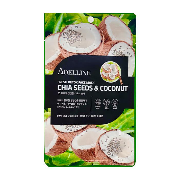 Купить Тканевая маска Adelline Fresh Detox Face Mask Chia Seeds & Coconut, Детокс-маска для лица с экстрактом семян чиа и кокоса, Южная Корея