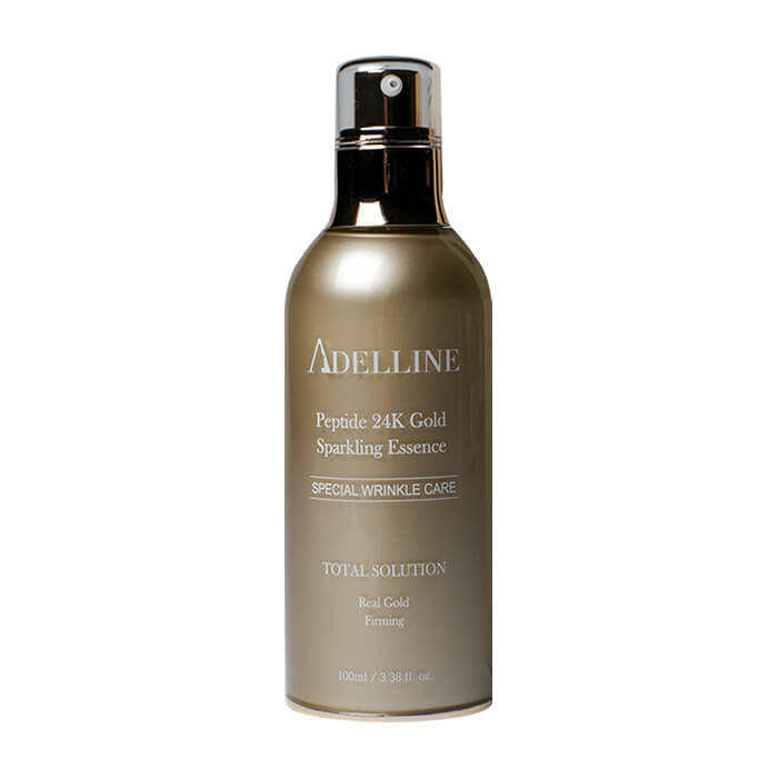 Эссенция для лица Adelline Peptide 24K Gold Sparkling Essence Увлажняющая сыворотка для кожи лица с пептидами и коллоидным золотом 24К фото