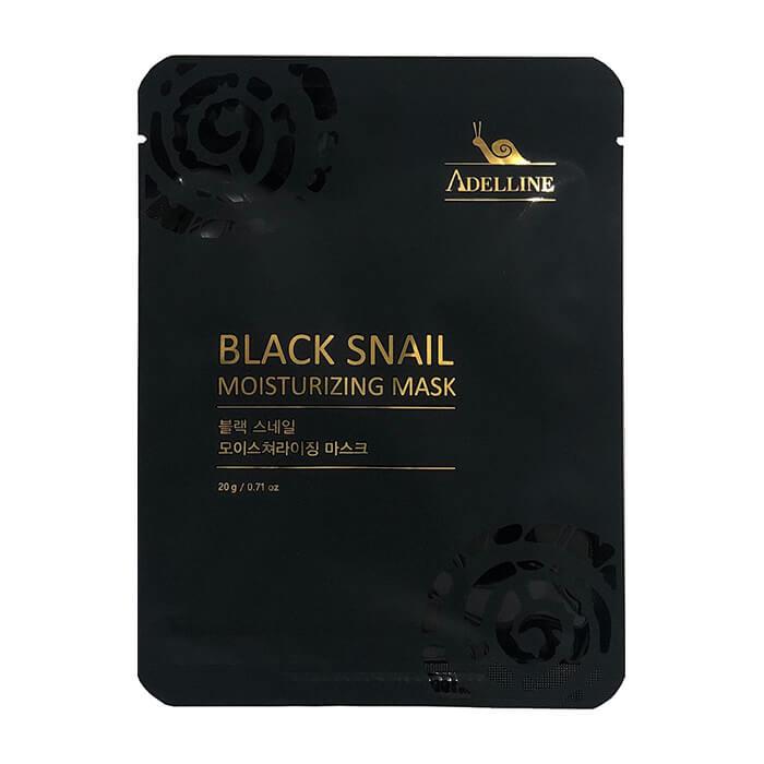 Тканевая маска Adelline Black Snail Moisturizing Mask, Увлажняющая маска с муцином чёрной улитки для питания и упругости кожи лица, Южная Корея  - Купить