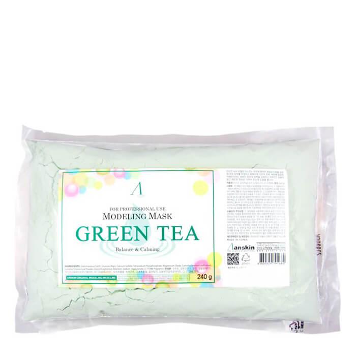 Купить Альгинатная маска Anskin Green Tea Modeling Mask (Refill), Успокаивающая альгинатная маска с экстрактом зелёного чая, Южная Корея