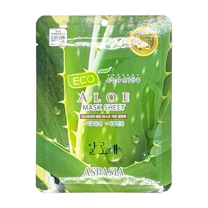 Купить Тканевая маска Aspasia Eco Aloe Mask Sheet, Тканевая маска для увлажнения и восстановления кожи лица с экстрактом алоэ вера, Южная Корея