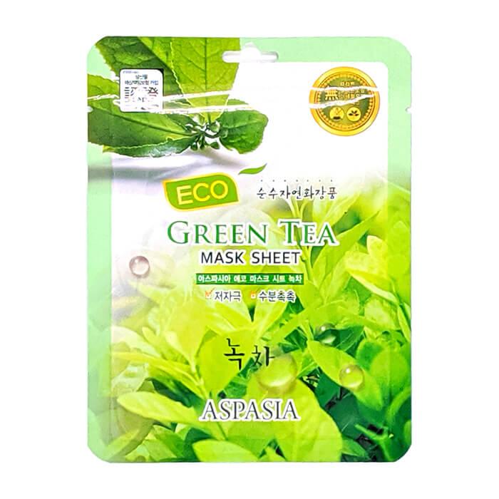 Купить Тканевая маска Aspasia Eco Green Tea Mask Sheet, Тканевая маска для разглаживания и защиты кожи лица с экстрактом зелёного чая, Южная Корея