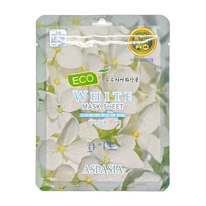 Тканевая маска Aspasia Eco White Mask Sheet Тканевая маска для отбеливания и улучшения тона кожи лица с экстрактами белых цветов фото