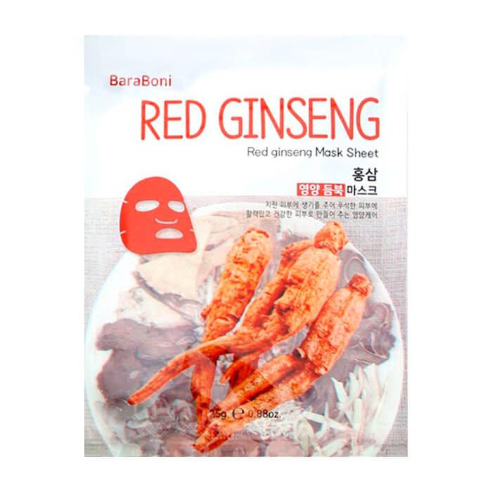 Купить Тканевая маска Baraboni Red Ginseng Mask Sheet, Тканевая маска для лица с экстрактом красного женьшеня, Южная Корея