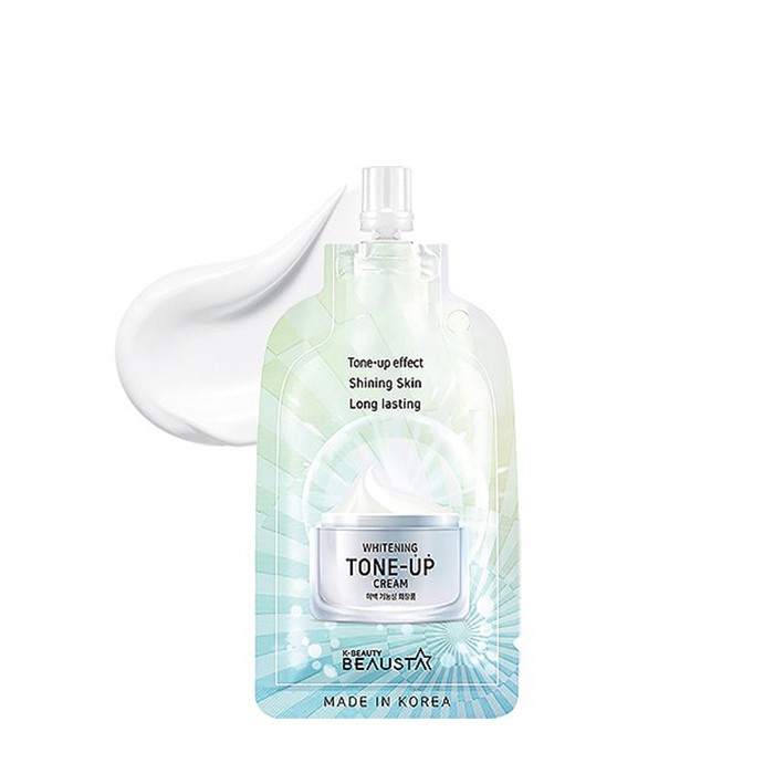 Купить Крем для лица Beausta Whitening Tone-Up Cream, Освежающий крем для выравнивания тона кожи лица в удобной тревел-упаковке, Южная Корея