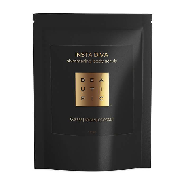 Купить Скраб для тела Beautific Insta Diva Shimmering Body Scrub, Сияющий кофейный скраб для тела с золотым шиммером, США