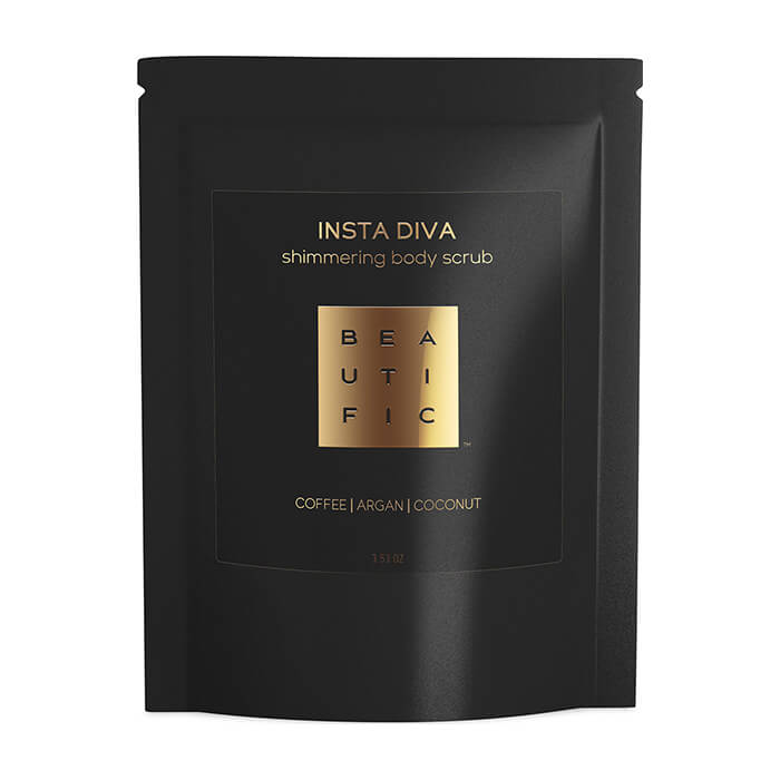 Скраб для тела Beautific Insta Diva Shimmering Body Scrub Сияющий кофейный скраб для тела с золотым шиммером фото