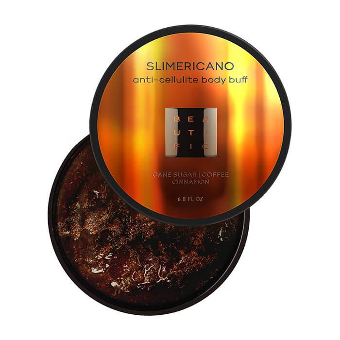 Купить Скраб для тела Beautific Slimericano Anti-Cellulite Body Buff, Сахарный антицеллюлитный скраб для тела с кофеином и маслом корицы, США