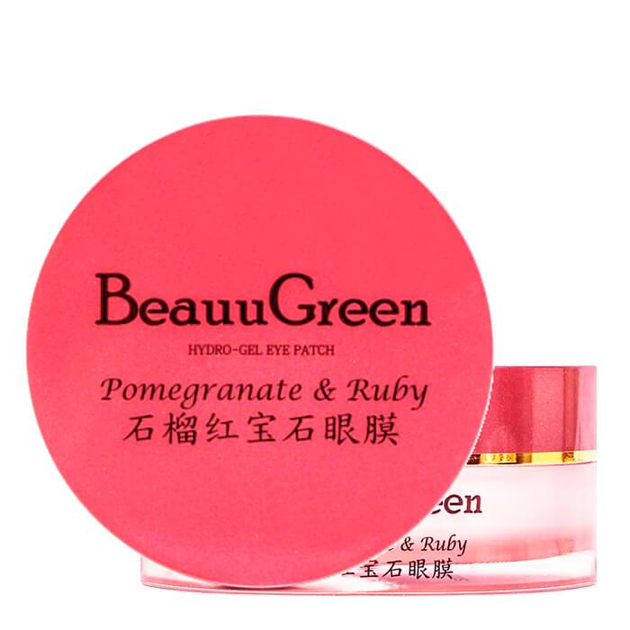 Купить Гидрогелевые патчи BeauuGreen Pomegranate & Ruby Hydrogel Eye Patch, Гидрогелевые патчи для век с экстрактом граната и рубиновой пудрой, Южная Корея