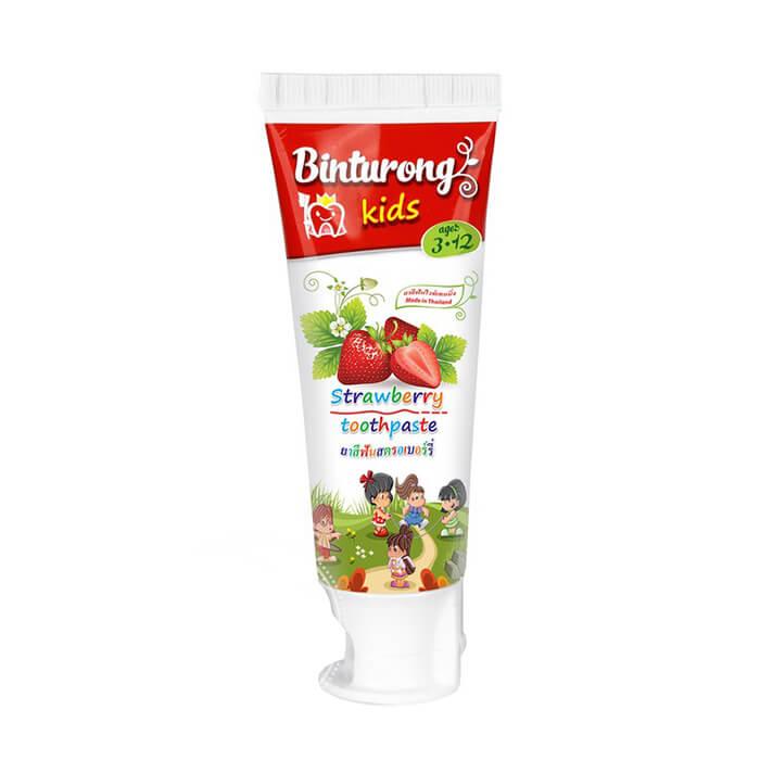 Купить Детская зубная паста Binturong Strawberry Toothpaste, Зубная паста с ароматом клубники для детей от 3 до 12 лет, Таиланд