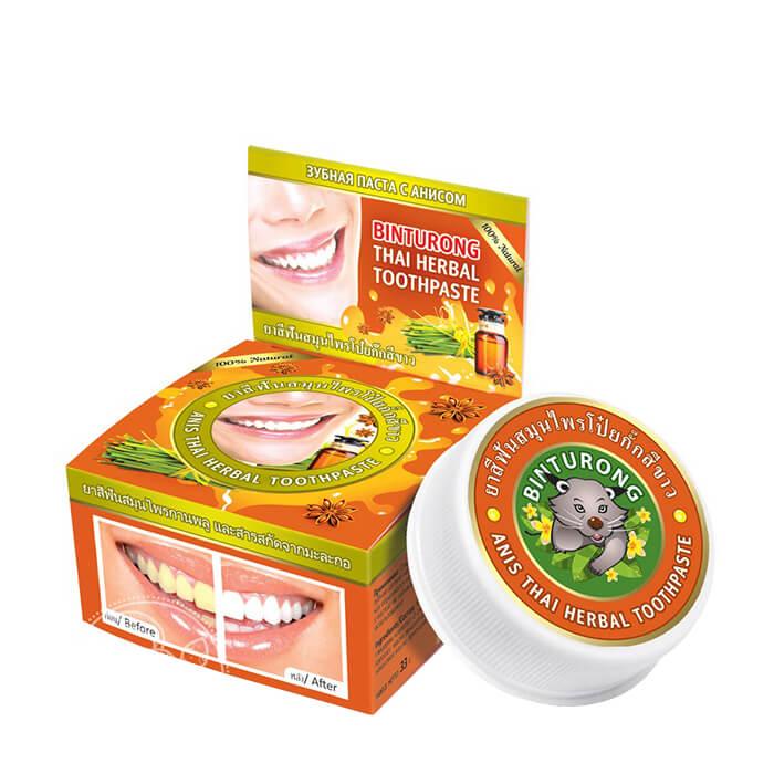Купить Зубная паста Binturong Anise Thai Herbal Toothpaste, Концентрированная твердая зубная паста с экстрактом аниса, Таиланд