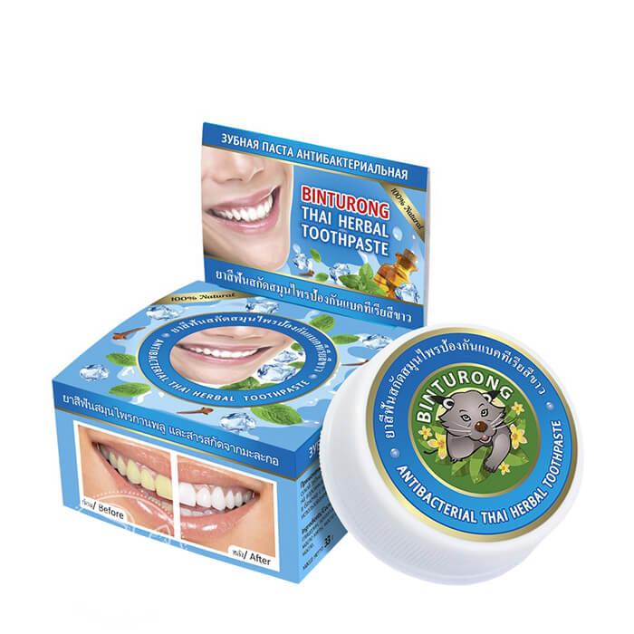 Купить Зубная паста Binturong Antibacterial Thai Herbal Toothpaste, Концентрированная твердая зубная паста с антибактериальным эффектом, Таиланд