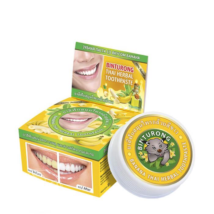 Купить Зубная паста Binturong Banana Thai Herbal Toothpaste, Концентрированная твердая зубная паста с экстрактом банана, Таиланд