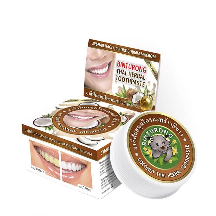 Купить Зубная паста Binturong Coconut Thai Herbal Toothpaste, Концентрированная твердая зубная паста с кокосовым маслом, Таиланд
