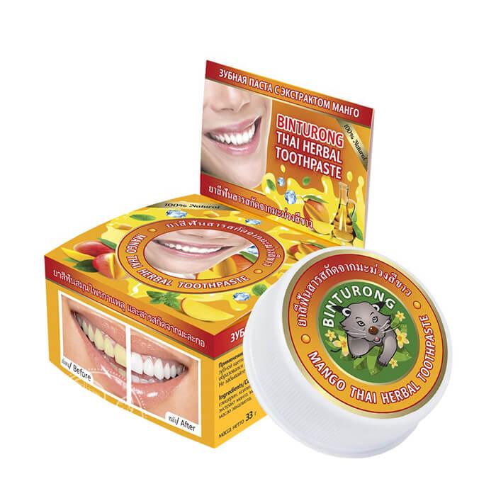 Купить Зубная паста Binturong Mango Thai Herbal Toothpaste, Концентрированная твердая зубная паста с экстрактом манго, Таиланд