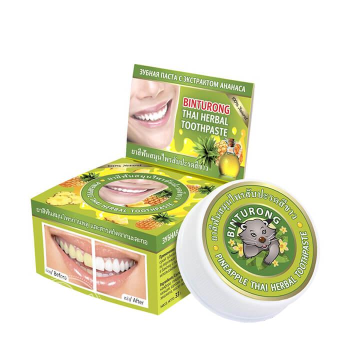Зубная паста Binturong Pineapple Thai Herbal Toothpaste Концентрированная твердая зубная паста с экстрактом ананаса фото