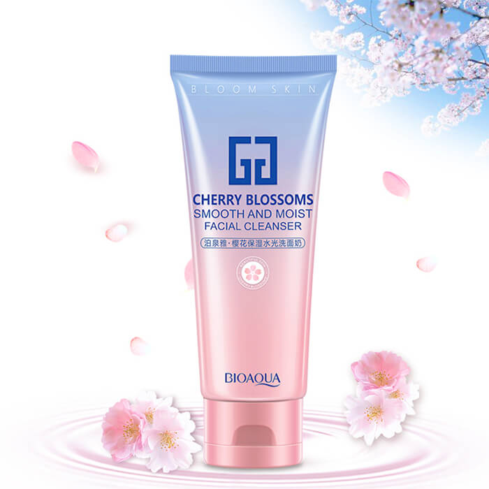 Пенка для умывания BioAqua Cherry Blossom Smooth And Moist Facial Cleanser Воздушная очищающая пенка для умывания кожи лица с экстрактом вишни