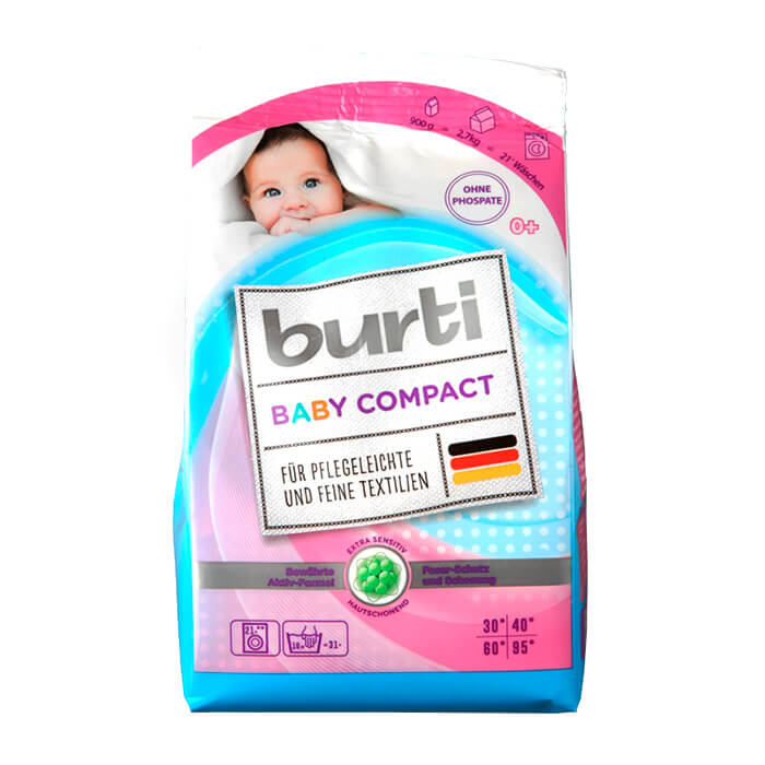 Купить Стиральный порошок Burti Baby Compact (900г), Концентрированный порошок для стирки детского белья, Германия