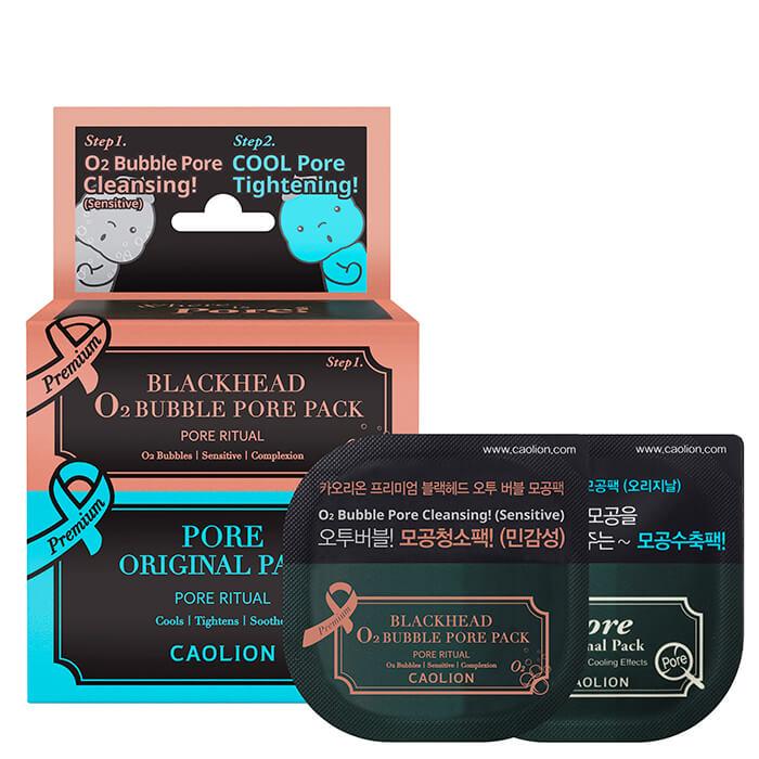 Купить Набор миниатюр Caolion Premium O2 Bubble & Cool Pore Pack Duo (Deluxe), Дуэт миниатюр кислородной и оригинальной масок для очищения пор, Южная Корея