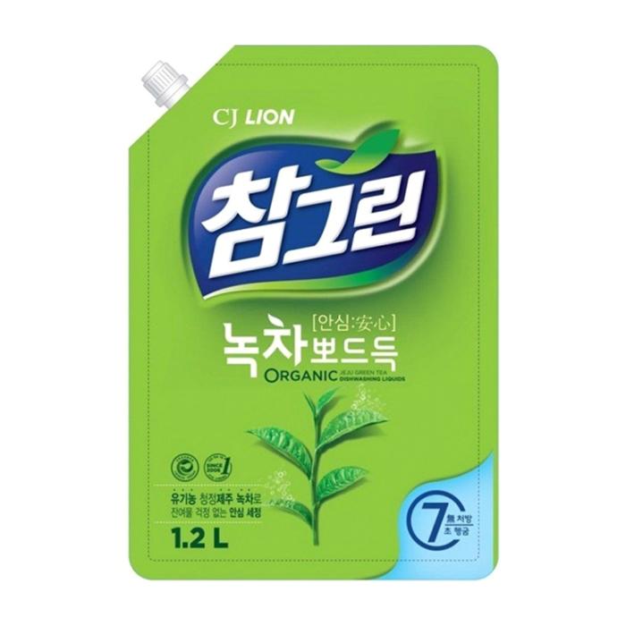 Купить Средство для мытья посуды CJ Lion Green Tea Squeaky Clean (рефилл 1200 мл), Средство с зелёным чаем для мытья посуды, овощей и фруктов, Южная Корея