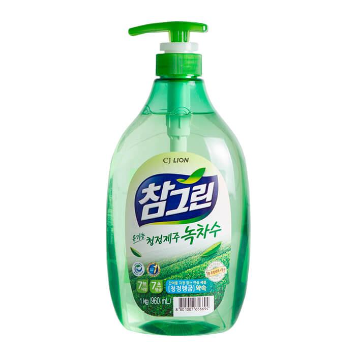 Средство для мытья посуды CJ Lion Green Tea Squeaky Clean (960 мл), Средство с экстрактом зелёного чая для мытья посуды, овощей и фруктов, Южная Корея  - Купить