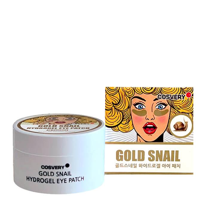 Патчи для глаз Cosvery Gold Snail Hydrogel Eye Patch Гидрогелевые патчи для глаз с муцином улитки и золотом фото