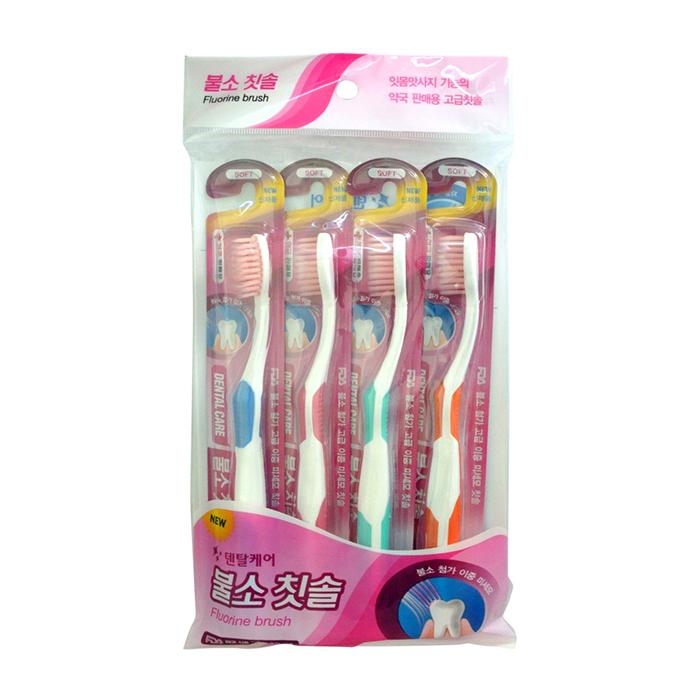 Купить Набор зубных щёток Co Arang Fluorine Toothbrush Set (4 шт.), Набор зубных щёток со сверхтонкой двойной щетиной и добавлением фтора, Dental Care, Южная Корея