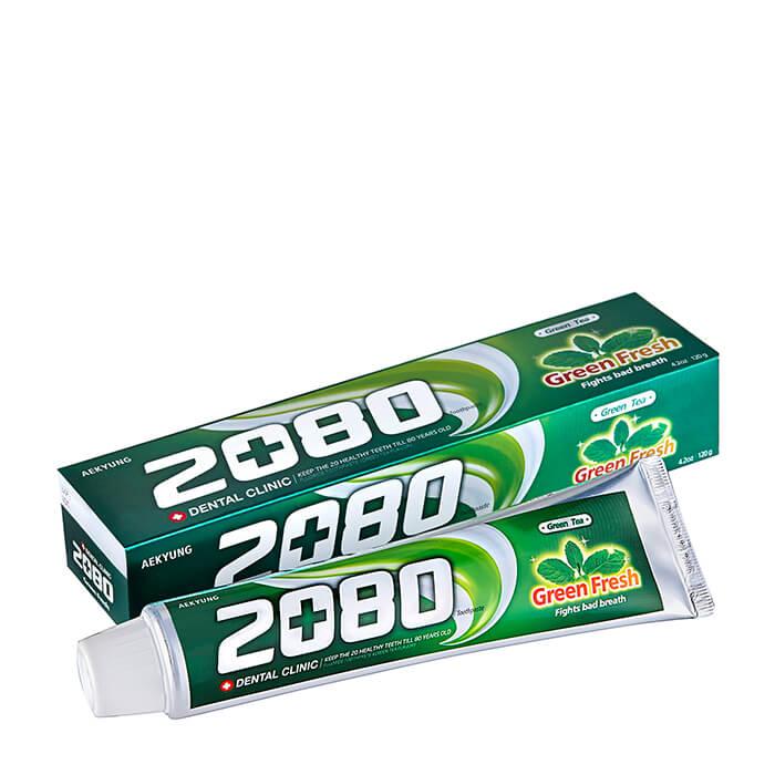 Купить Зубная паста Dental Clinic 2080 Green Fresh Toothpaste, Зубная паста для всей семьи с зелёным чаем и вкусом мяты, Южная Корея