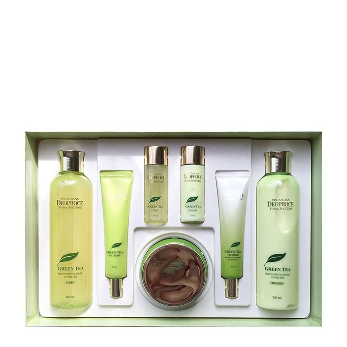 Купить Набор для лица Premium Deoproce Green Tea Total Solution 5 Set, Подарочный набор для ухода за кожей лица с экстрактом зелёного чая, Южная Корея
