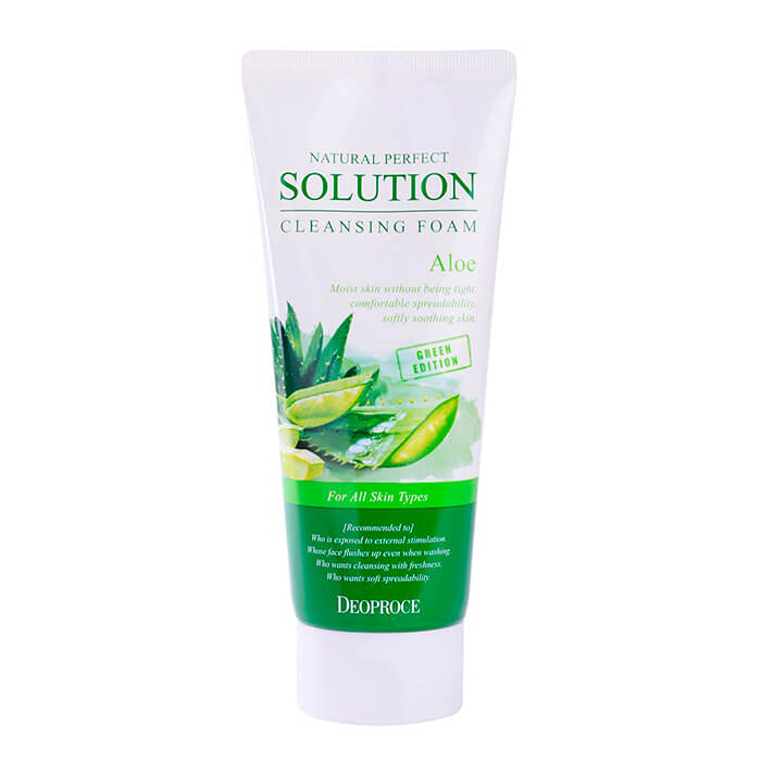 Купить Очищающая пенка Deoproce Natural Perfect Solution Cleansing Foam Aloe, Пенка для умывания лица с экстрактом алоэ, Южная Корея