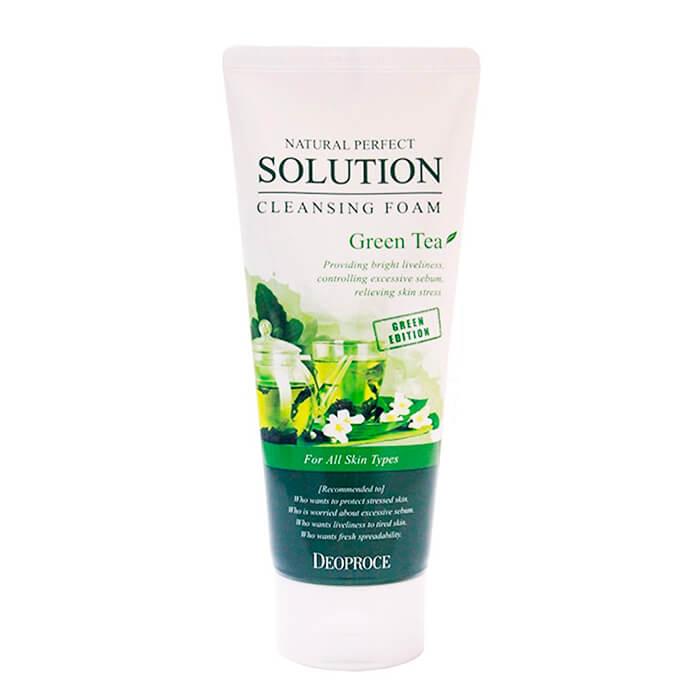 Купить Очищающая пенка Deoproce Natural Perfect Solution Cleansing Foam Green Tea, Пенка для умывания лица с экстрактом зелёного чая, Южная Корея